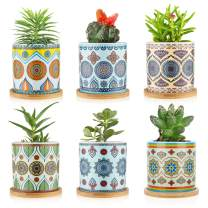 COLOAPT Succulent Plant Pots - 3.1 inch Ceramic Succulent Planter -Cylinder Flower Pots for Cactus with Drainage Hole and Bamboo Tray, 6 Pack (pots6 New)