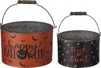 Primitives by Kathy Halloween Metal Buckets, Set of 2, Trick or Treat