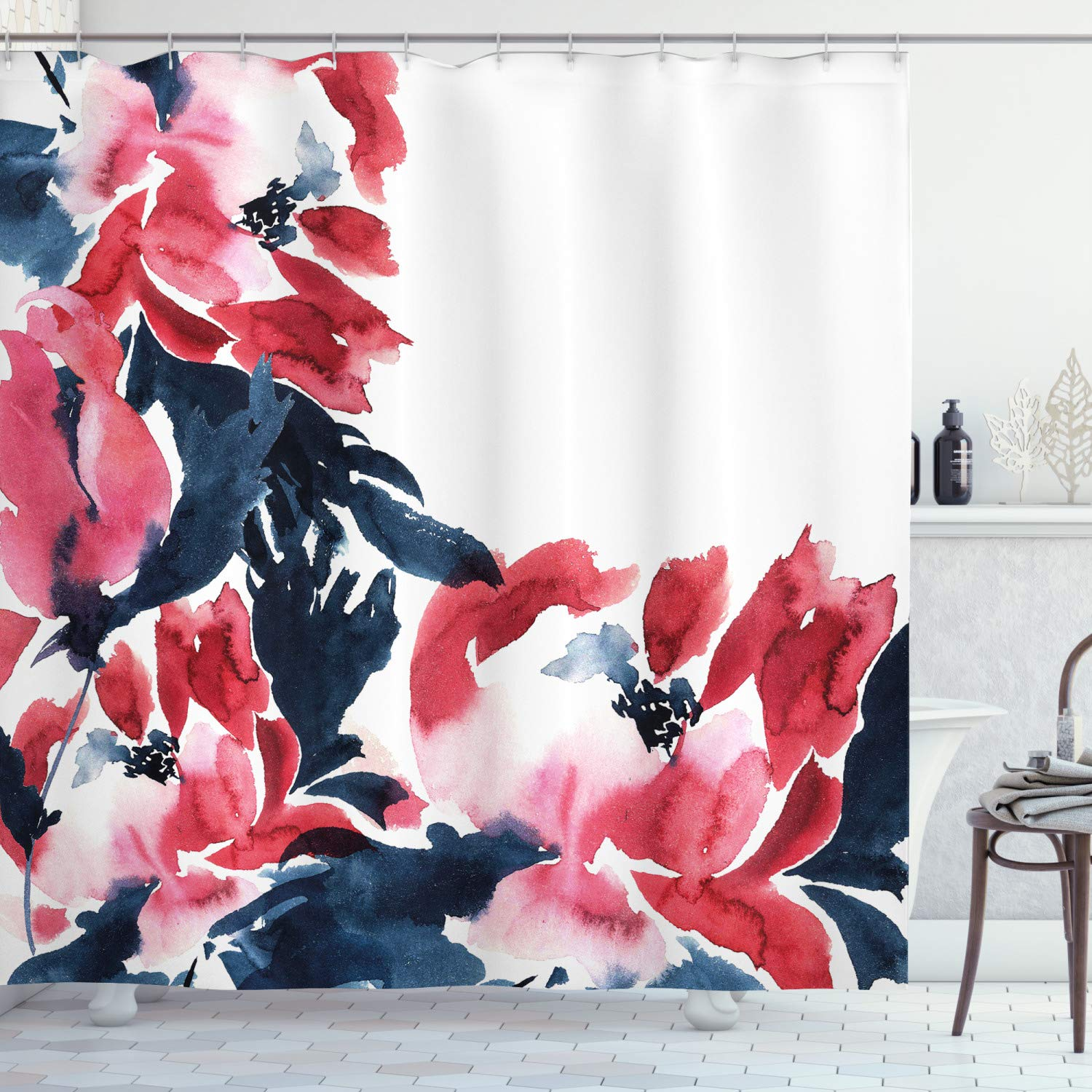 """Ambesonne Floral Shower Curtain, Flowers in Watercolor Style Effect Illustration of Peonies Spring Inspired Print, Cloth Fabric Bathroom Decor Set with Hooks, 70"""" Long, Blue Pink"""