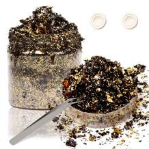 Black Gold Gilding Foil Resin Flakes, GACUYI 5g Imitation Gold Foil Flakes Metallic Leaf with Tweezers and Finger Cots for Gilding, Resin Art, Painting Arts, Nail Art, Crafts and Home Decoration
