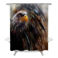 Art Painting Eagle Shower Curtain with On an Abstract Background, Usa Symbols Freedom Hawk Profile Portrait with Black Feathers Home Decoration, Water Resistant Washable Polyester, Brown, 72 W x 72 L