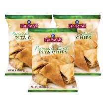 Toufayan Bakeries, Parmesan Garlic Pita Chips, Cholesterol Free, No Trans Fat, 4g of Protein, Certified Kosher Dairy (8oz Bags, 3 Pack)