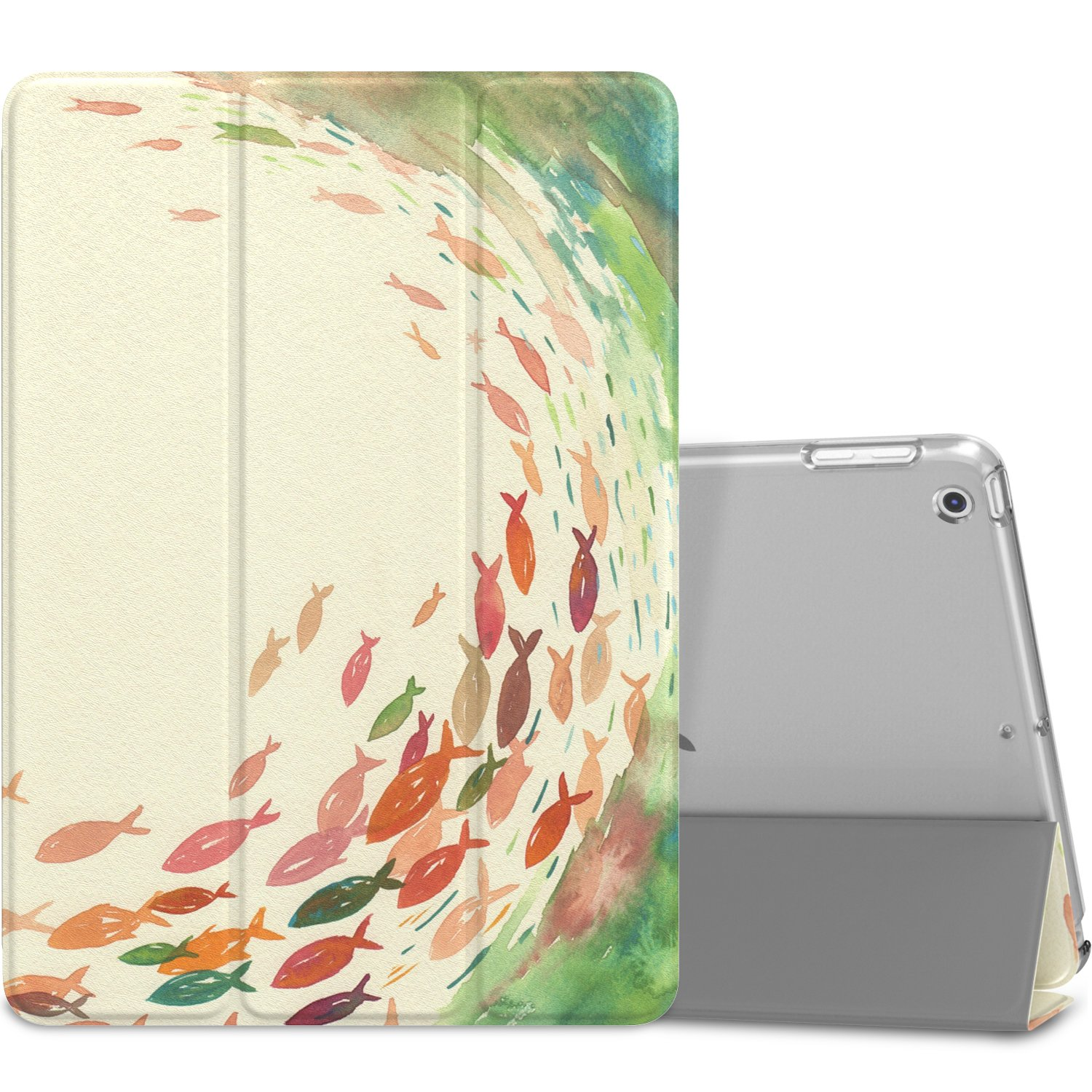 """MoKo Case Fit 2018/2017 iPad 9.7 6th/5th Generation, Slim Lightweight Smart Shell Stand Cover with Translucent Frosted Back Protector Fit iPad 9.7"""" 2018/2017, School of Fish(Auto Wake/Sleep)"""