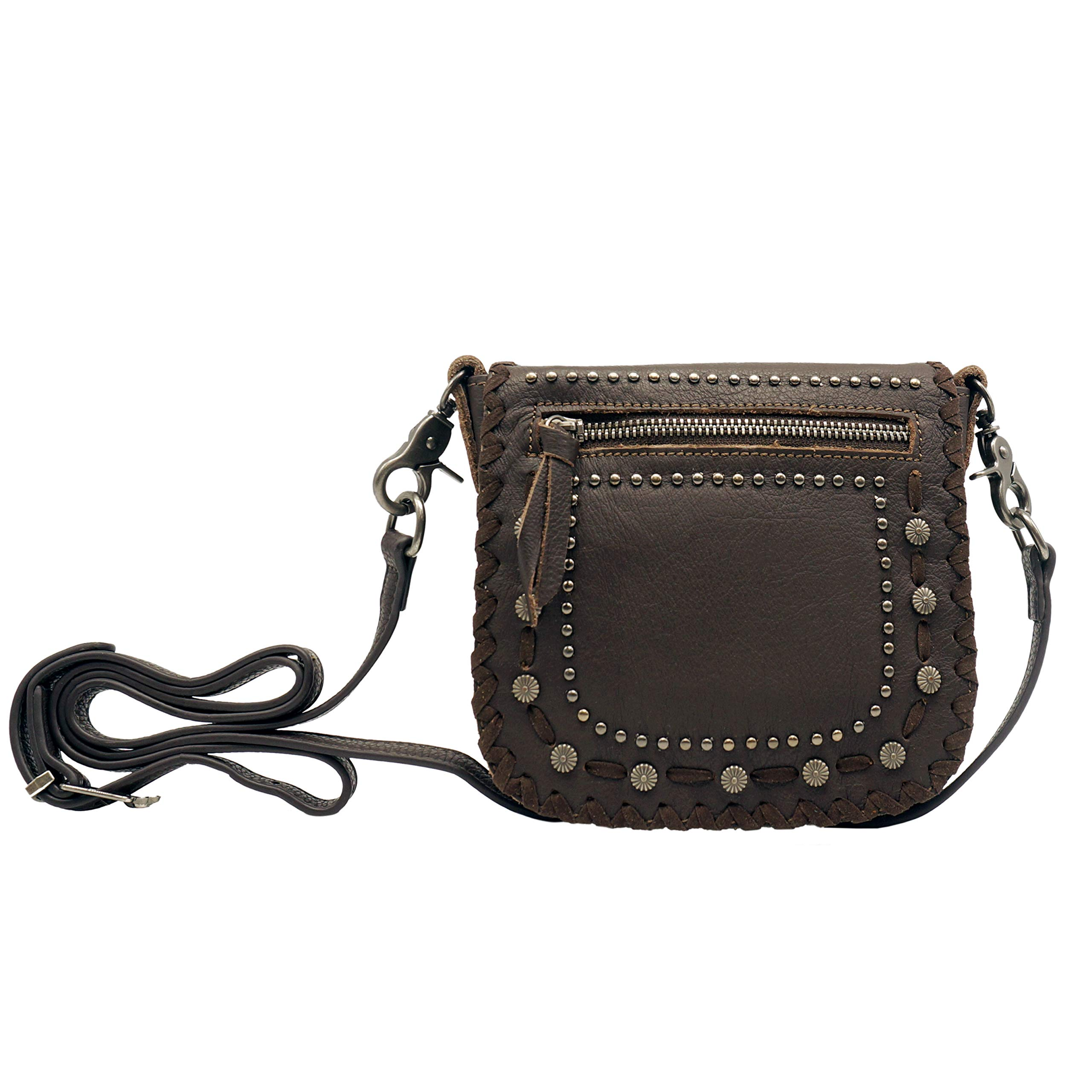 Montana West Real Leather Western Studded Crossbody Small Purse Messenger Bag Waist Pouch For Women