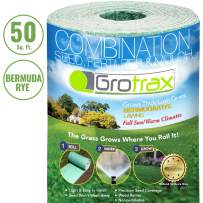 Grotrax Biodegradable Grass Seed Mat, Bermuda Rye - 50 Square Feet Quick Fix Roll - All In One Growing Solution For Lawns, Dog Patches and Shade - Just Roll Water & Grow - Not Fake or Artificial Grass