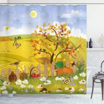 """Ambesonne Fall Shower Curtain, Rural Scenery with Sun Butterflies Birds and Daisies on Field Kid Nursery Concept, Cloth Fabric Bathroom Decor Set with Hooks, 70"""" Long, Blue Yellow"""
