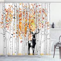 """Ambesonne Deer Shower Curtain, Deer in Forest Autumn Colors Trees Foliage Wilderness Seasonal Artwork, Cloth Fabric Bathroom Decor Set with Hooks, 84"""" Long Extra, Orange Green"""