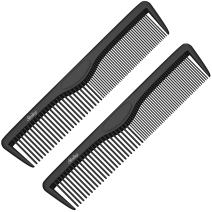 Small Pocket Combs | 2 Pack | Professional 5 Inch Black Carbon Fiber Hair Comb | Fine And Wide Tooth Travel Comb Set | Anti Static Chemical and Heat Resistant | Mens Beard And Styling Haircomb | Ba