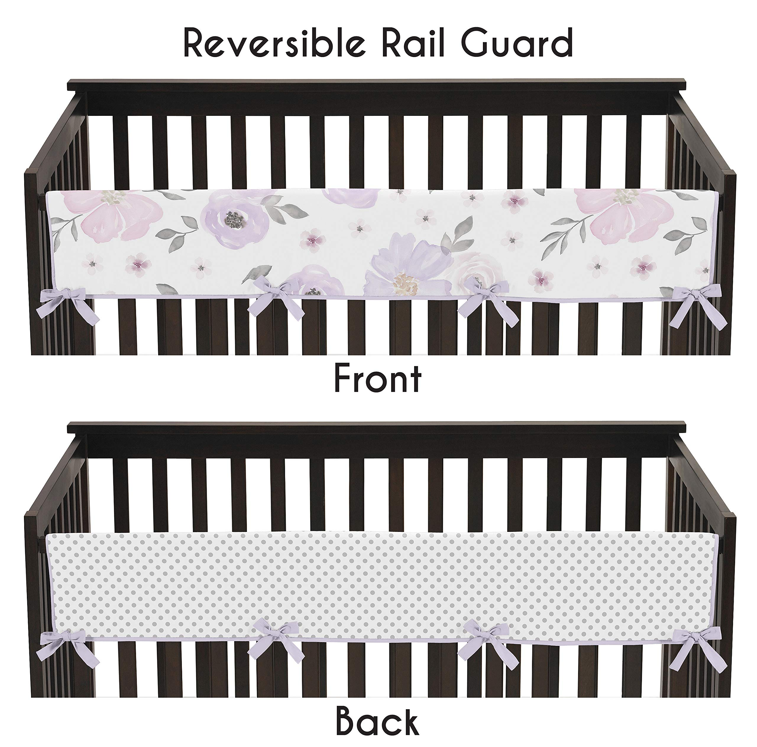 Sweet Jojo Designs Lavender Purple, Pink, Grey and White Polka Dot Long Front Crib Rail Guard Baby Teething Cover Protector Wrap for Watercolor Floral Collection - Rose Flower Polka Dot