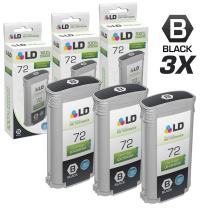 LD Remanufactured Ink Cartridge Replacement for HP 72 C9403A High Yield (Matte Black, 3-Pack)
