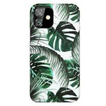 """Reejax iPhone 11 Case 6.1 inch Case with Glass Screen Protector, Green Leaf for Girls Women Best Protective Slim Fit Clear Bumper Glossy TPU Soft Silicon Cover Phone Case for iPhone 11 Case 6.1"""""""