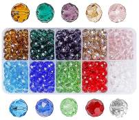 8mm Crystal Glass Rondelle Czech Beads Bulk-15 Colors Faceted Jewellery Colorful Briolette Beads with Beautiful Jewelry Box for Jewelry Making Craft(450 Pcs)