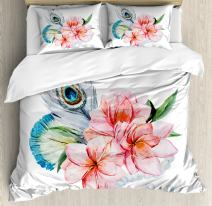 Ambesonne Shabby Flora Duvet Cover Set, Watercolor Style Peony Anemone Flowers Peacock Feather and Beads Image, Decorative 3 Piece Bedding Set with 2 Pillow Shams, Queen Size, Pink Grey