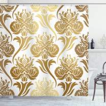 """Ambesonne Damask Shower Curtain, Ombre Abstract Image with Floral East Inspired Details Print, Cloth Fabric Bathroom Decor Set with Hooks, 70"""" Long, Caramel Yellow"""