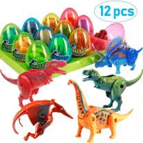 "12 Pack Dinosaur Easter Basket Filled Deformable Dinosaur Toys 3.5"" Large Easter Eggs Fillers Easter Basket Stuffers Plastic Surprise Eggs Easter Gifts Easter Party Favors for Kids Boys Girls Toddlers"