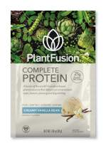 PlantFusion Complete Plant Based Pea Protein Powder, Non-GMO, Vegan, Dairy, Gluten and Soy Free, Allergy Free w/Digestive Enzymes, Dietary Supplement, On The Go Packs, Vanilla Bean, 12 Single Servings