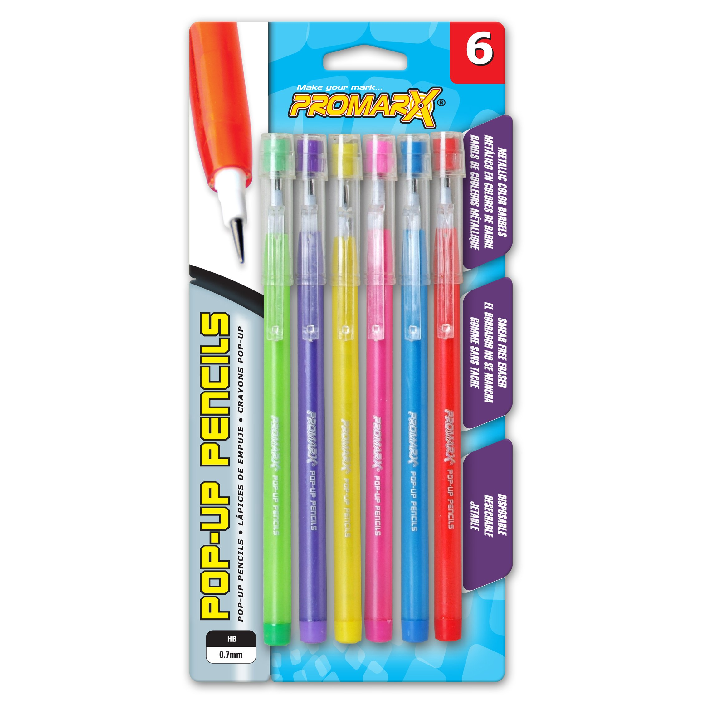 Promarx Metallic Fashion Pop-Up Pencils, 0.7 mm, Assorted Colored Barrels, 6 Count, Assorted Colors, Model:MQ26-DF7B06-48