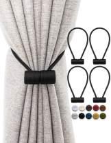 TECVINCI Magnetic Curtain Tiebacks Drapery Tiebacks, Upgraded 4 Pack 16 Inch Decorative Curtain Holdback Curtain Clip Buckle for Blackout Sheer Window Treatment Home Office -Black