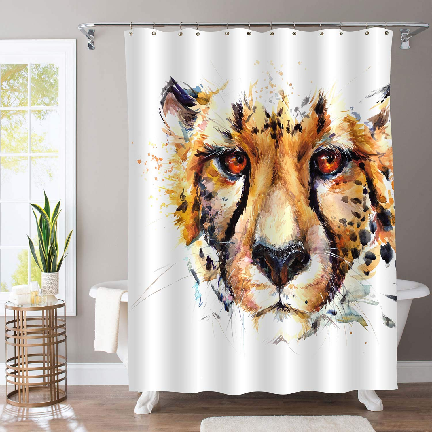 """MitoVilla Leopard Bathtub Shower Curtain for Wild Animal Lovers, Watercolor Vivid African Cheetah Portrait Home Deocr for Mens, Baby Kids and Teenage Children, Gold, 72"""" W x 78"""" L Long for Bathtub"""