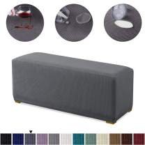 Granbest Premium Water Repellent Ottoman Cover High Stretch Rectangle Folding Storage Stool Ottoman Slipcovers (Ottoman Standard, Gray)