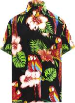 LA LEELA Men's Tropical Fashion Short Sleeve Hawaiian Shirt