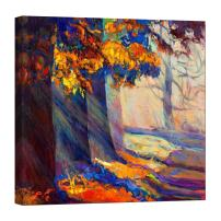 LightFairy Glow in The Dark Canvas Painting - Stretched and Framed Giclee Wall Art Print - Sunbeams Through Trees - Master Bedroom Living Room Decor - 6 Hours Glow - 24 x 24 inch