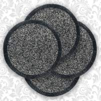 Decozen Round Placemat for Dining Table - Coffee Table - Handmade from High Quality Beads Heat Resistant Scratch Proof and Easy to Care Kitchen Décor Table Mat Set of 4pcs 14 inches - Silver/Black