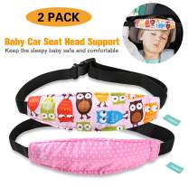 2 Packs Toddler Car Seat Neck Relief and Head Support, Pillow Support Head Band Easy Installation On Most Convertible Seats and Safety to Babies and Kids(Pink)