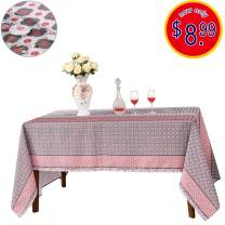 JIATER Christmas Tablecloth Spillproof Fabric Kitchen Outdoor Picnic Camping Holiday Table Cloth for Rectangle Tables 60 x 104 Inch (Geometric Graph Red)
