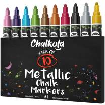 Metallic Chalk Markers (10 Pack) Liquid Chalk Pens - For Blackboards, Chalkboard, Bistro Menu, Window - Wet Wipe Erasable - 6mm Reversible Bullet & Chisel Tip