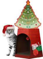 American Cat Club Christmas Cat House & Cat Scratcher w/Bonus Catnip Included