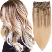 Ombre Clip in Human Hair Extensions Golden Brown to Blonde Highlighted Clip in Real Hair Extensions Double Weft 8 Pcs Clip on for Women 16 Inch 120G