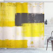 """Ambesonne Grey and Yellow Shower Curtain, Abstract Grunge Style Brushstrokes Painting Style, Cloth Fabric Bathroom Decor Set with Hooks, 70"""" Long, White Charcoal"""