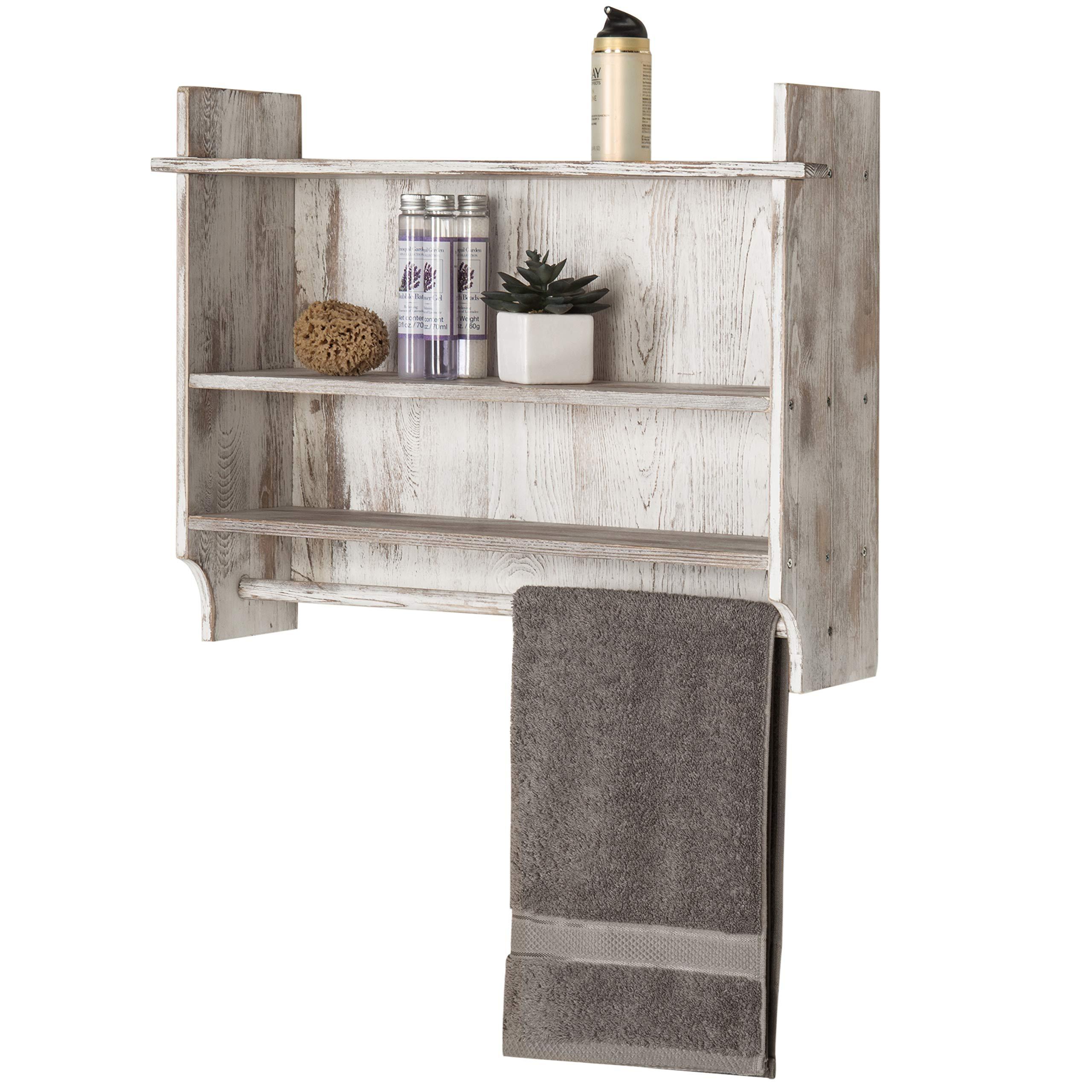 MyGift 3-Shelf Whitewashed Wall Mounted Bathroom Organizer Rack with Towel Bar