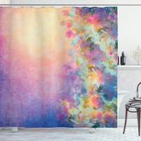 """Ambesonne Purple Shower Curtain, Watercolor Style Effect Spring Cherry Blossom Japanese Nature Print, Cloth Fabric Bathroom Decor Set with Hooks, 84"""" Long Extra, Marigold Purple"""