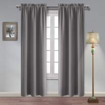 Hiasan Blackout Curtains for Bedroom - Thermal Insulated Sun Blocking and Privacy Room Darkening Window Curtains for Living Room, Grey, 38 x 84 Inch, 2 Drape Panels