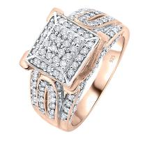 [2-5 Days Delivery] Rose Gold Plated Sterling Silver .925 Ring with 124 Prong-Set Cubic Zirconia (CZ) Stones.