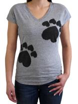 Casual V Neck T Shirts Short Sleeve Summer Tops - Cute 5 Heart Paw tee for Women & Girls