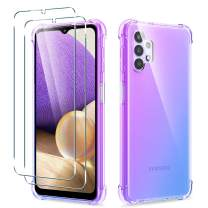 [3 in 1] WRJ Clear Gradient Case + Screen Protector [2 Packs] for Samsung Galaxy A32 5G,Anti-Scratch Tempered Glass and TPU Cover Protective Case (Purple Blue)