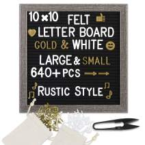 ONE WALL Black Felt Letter Board 10x10 Inch Changeable Message Sign Board Rustic Wood Frame & Over 640 Precut Letters Symbols Emojis, Scissors, 2 Storage Pouches for Memo & Message