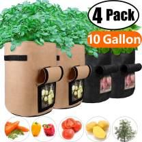 Potato Grow Bags 10 Gallon with Flap Velcro Window and Handles Garden Vegetable Grow Bags Breathable Nonwoven Heavy Duty, Smart Potato Tomato Veggies Flower Planter Bag (2x Black,2x Brown) Large,4Pack