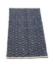 Chardin home 100% cotton Diamond Rug Fully reversible - Mat size 21''x34'', Machine washable, Navy/Ivory