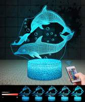 USLINSKY 3D Dolphin Gifts Toys Decor LED Night Light with Remote Control, 7 Color RGB Bedside Lamp, Smart Touch Adjustable Brightness Birthday Party Decorations Present for Baby Boys Girls Women Men