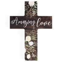 P. Graham Dunn Amazing Love Rustic Floral Dark Brown 5 x 7 Solid Pine Wood Wall Hanging Cross