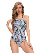 DIORLV Women's Athletic One Piece Swimsuit Slimming Swimwear Training Slimming Tummy Control Teens Cute Bathing Suit
