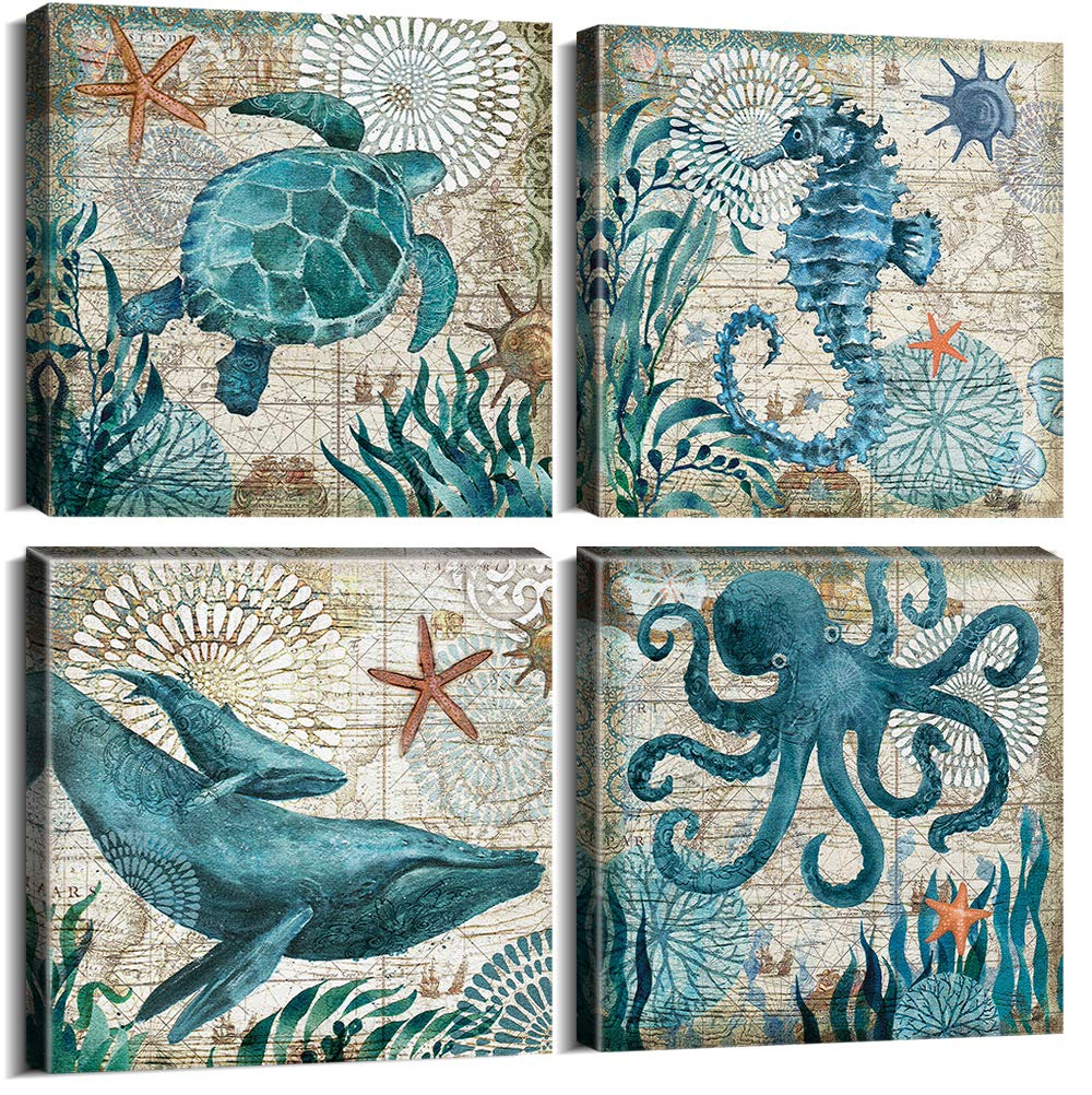 """YOOOAHU 4 Piece Canvas Prints Home Wall Decor Art Ocean Watercolor Sea World Animal Home Sea Turtle Seahorse Whale Octopus Pictures Modern Artwork Stretched and Framed Ready to Hang -24""""x24""""x4 Panels"""