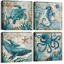 """YOOOAHU 4 Piece Canvas Prints Home Wall Decor Art Ocean Watercolor Sea World Animal Home Sea Turtle Seahorse Whale Octopus Pictures Modern Artwork Stretched and Framed Ready to Hang -20""""x20""""x4 Panels"""
