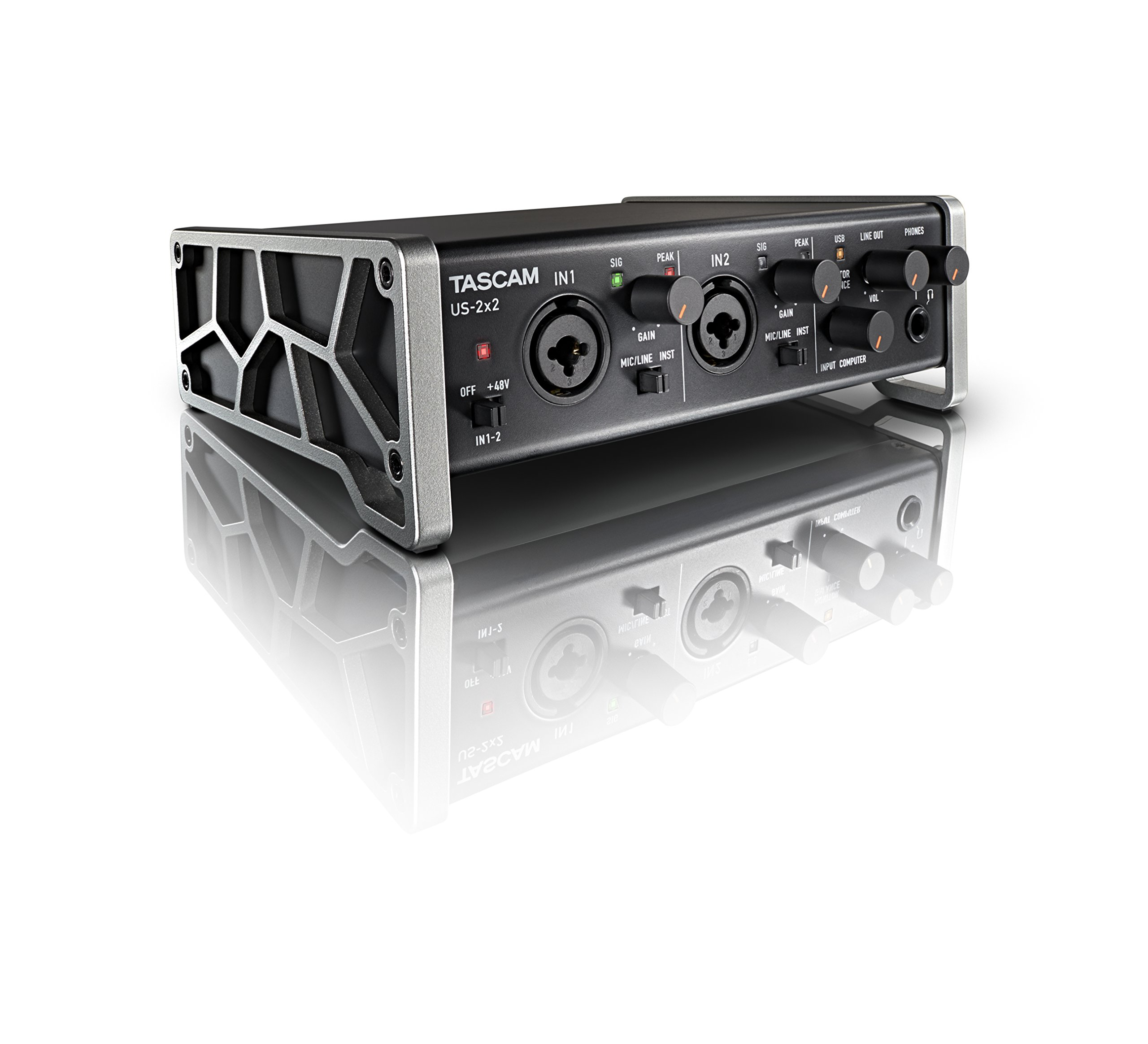 Tascam US-2x2 USB Audio/MIDI Interface with Microphone Preamps and iOS Compatibility