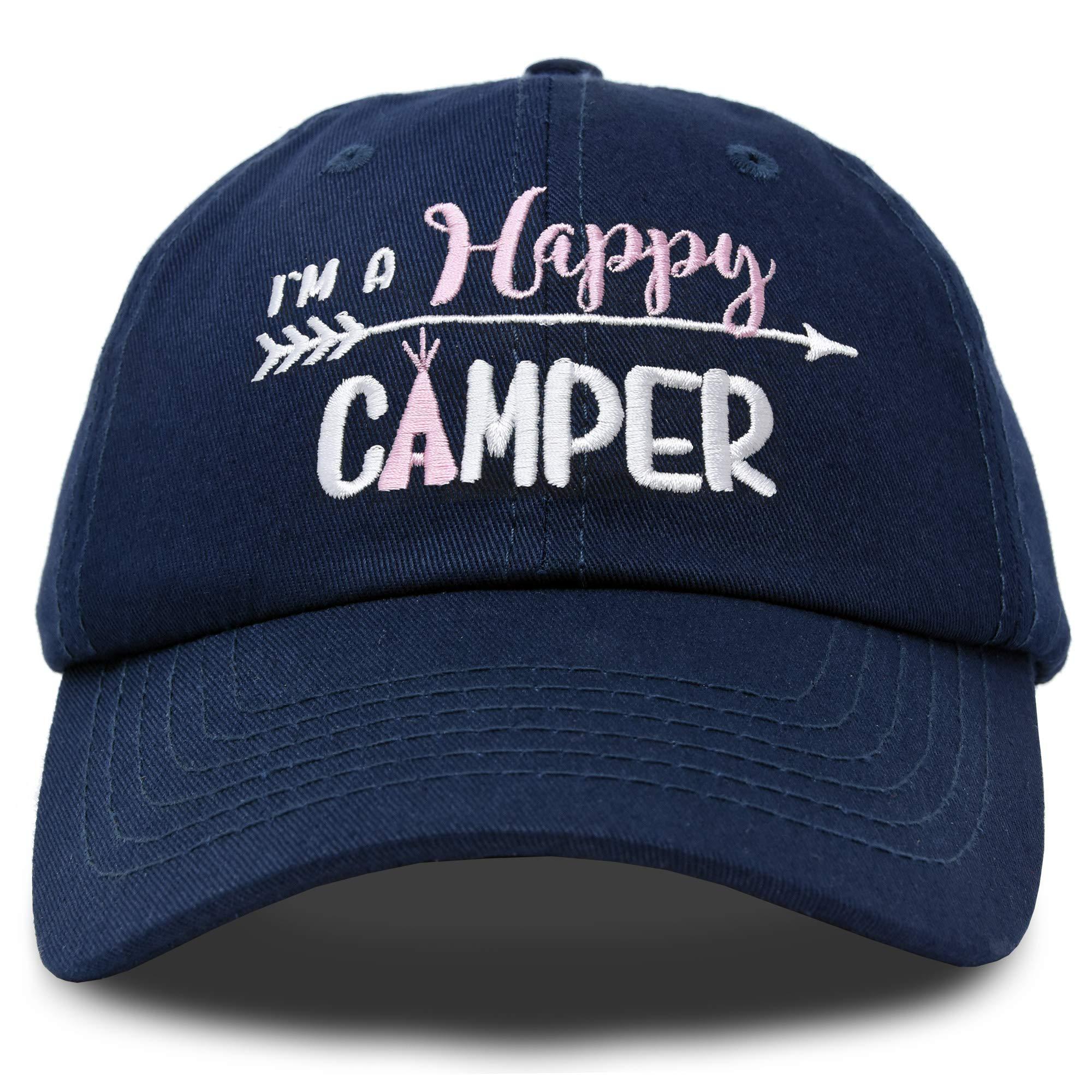 DALIX Womens Happy Camper Hat Soft Cotton Camping Caps