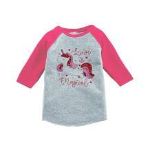 7 ate 9 Apparel Girl's Valentine's Day Unicorn Pink Baseball Tee